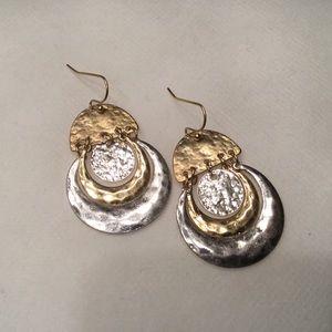 Jewelry - Hammered Metal Circle Drop Earrings